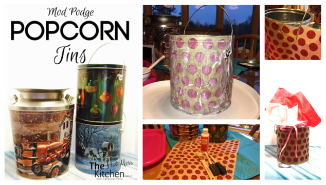Mod Podge Popcorn Tins